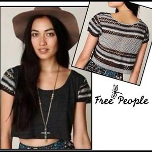 FREE PEOPLE crocheted back crop top